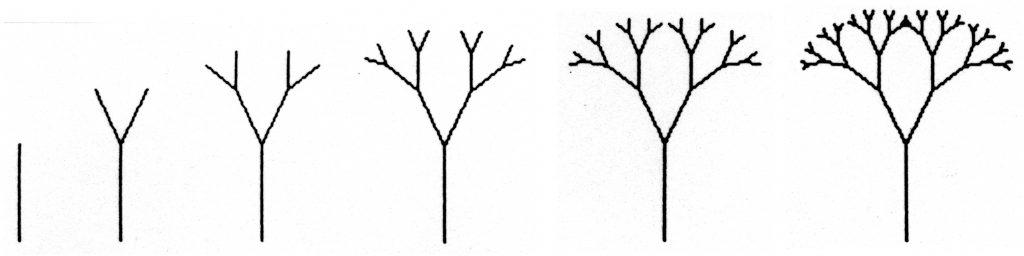 Binääripuun rakentuminen, viivapiirros puusta joka haarautuu joka haarassa symmetrisesti kahdeksi