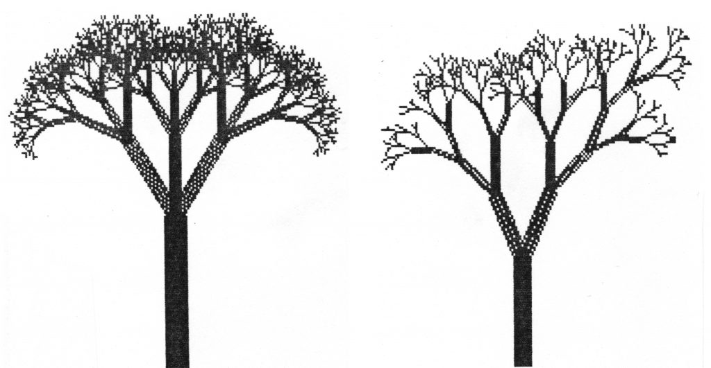 Viivapiirroksia erilaisista binääripuista, kolmihaarainen, sellainen jossa haarojen pituus ja kallistuskulma vaihtelee jne