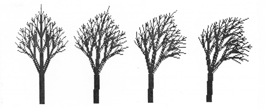 Viivapiirroksia binääripuista, jotka näyttävät taipuvan kuin tuulessa, koska haarojen kallistuskulma vaihtelee